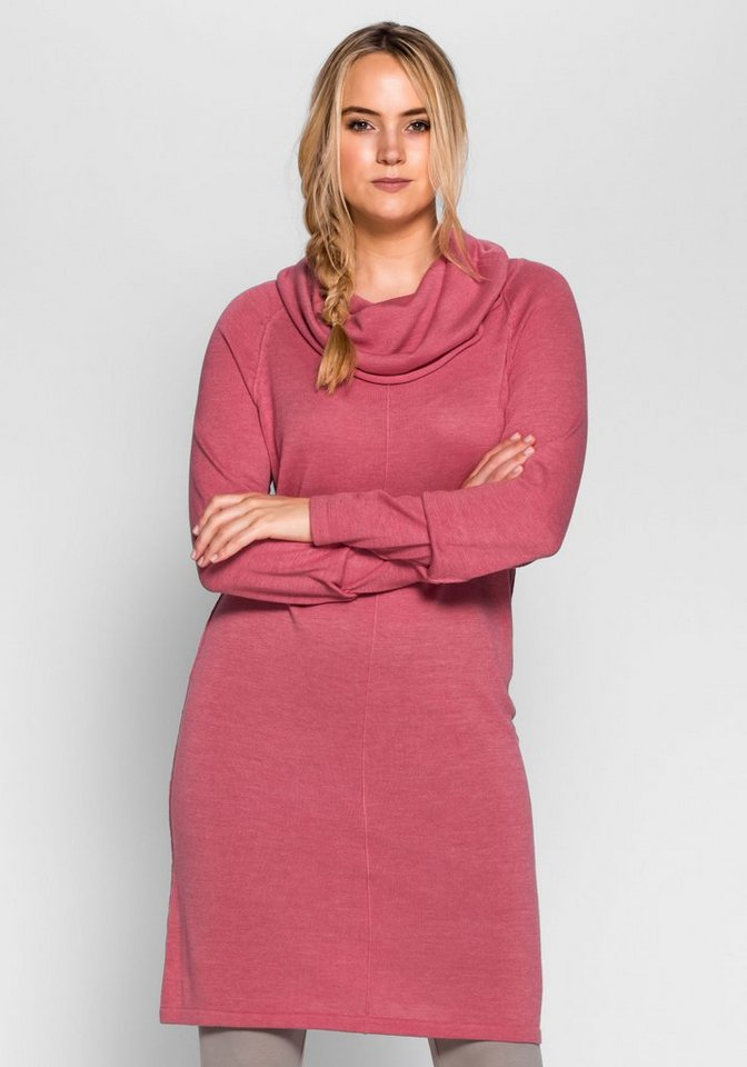 sheego Casual Sheego Casual tricotjurk met col roze
