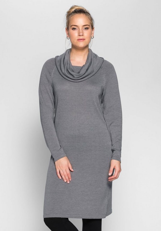 sheego Casual Sheego Casual tricotjurk met col grijs