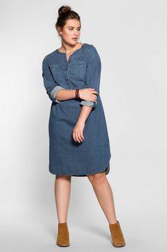 sheego denim jeansjurk in een zachte, soepele kwaliteit blauw