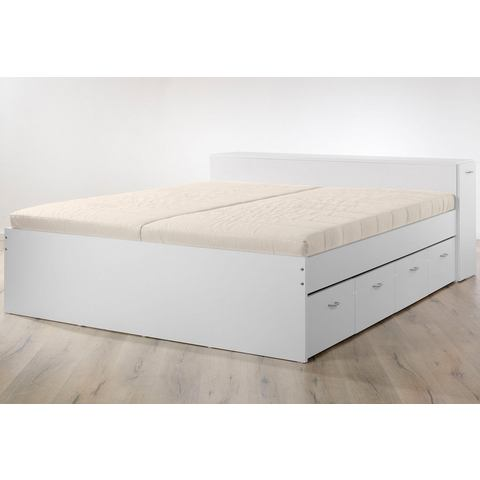Bed met uittrekbare kast met lattenrol en matras wit 106888