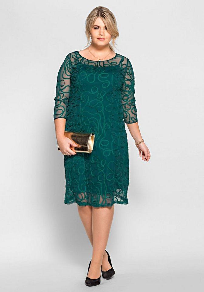 sheego Style Avondjurk met sierranden groen