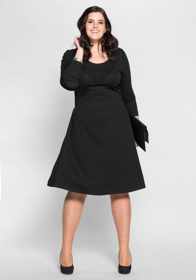 sheego Style jerseyjurk met gehaakte kant zwart
