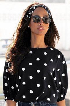 vivance blouse zonder sluiting met stippenprint zwart