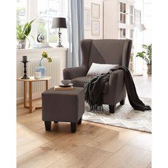 home affaire fauteuil »chilly« (set, 2-tlg., bestehend aus sessel und hocker) bruin