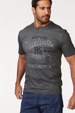 man's world t-shirt met frontprint grijs