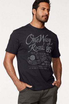 man's world t-shirt met print in used-look zwart