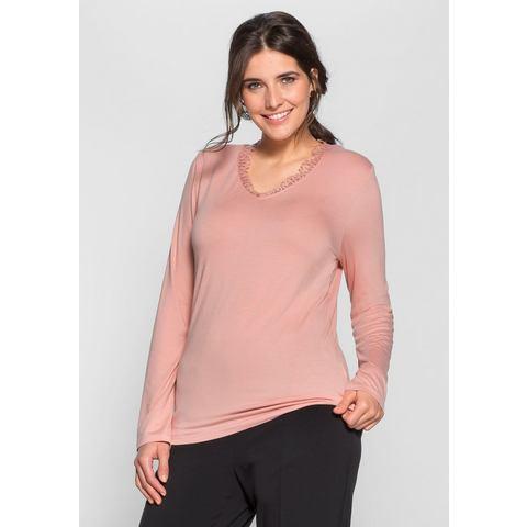 sheego Style Shirt met lange mouwen en kant