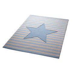 kindervloerkleed, bellybutton, »my little star«, hoogte 10 mm, zuiver scheerwol, handgetuft blauw
