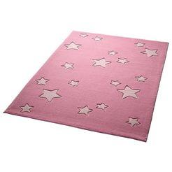 kindervloerkleed, bellybutton, »sterrenwereld«, hoogte 10 mm, zuiver scheerwol, handgetuft roze