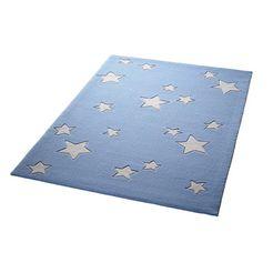 kindervloerkleed, bellybutton, »sterrenwereld«, hoogte 10 mm, zuiver scheerwol, handgetuft blauw