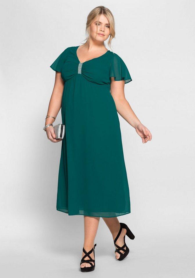 sheego Style Avondjurk met sierkraaltjes groen