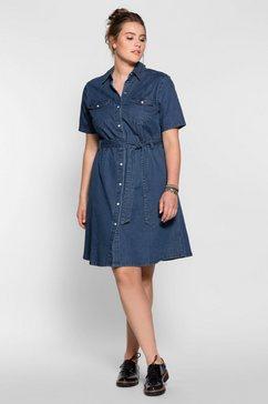 sheego denim jurk met overhemdkraag, in jeans-look blauw