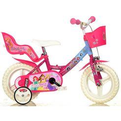 dino kinderfiets, meisje, 12 inch, 1 versnelling, »princess« roze