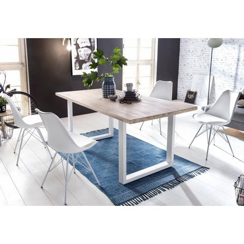 HOME AFFAIRE eettafel Miami Beach met wit metalen frame in U-model