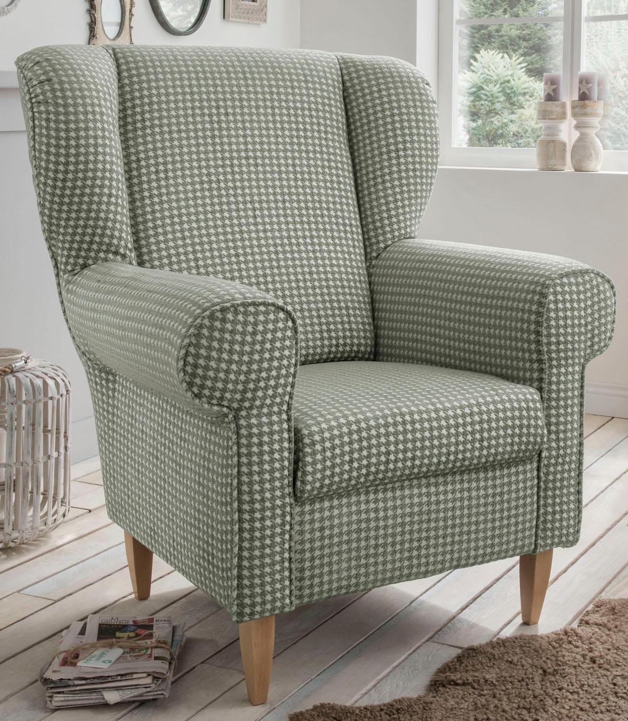 Home Affaire fauteuil «Asino», met pied-de-poule-bekleding, naar keuze met hocker goedkoop op otto.nl kopen