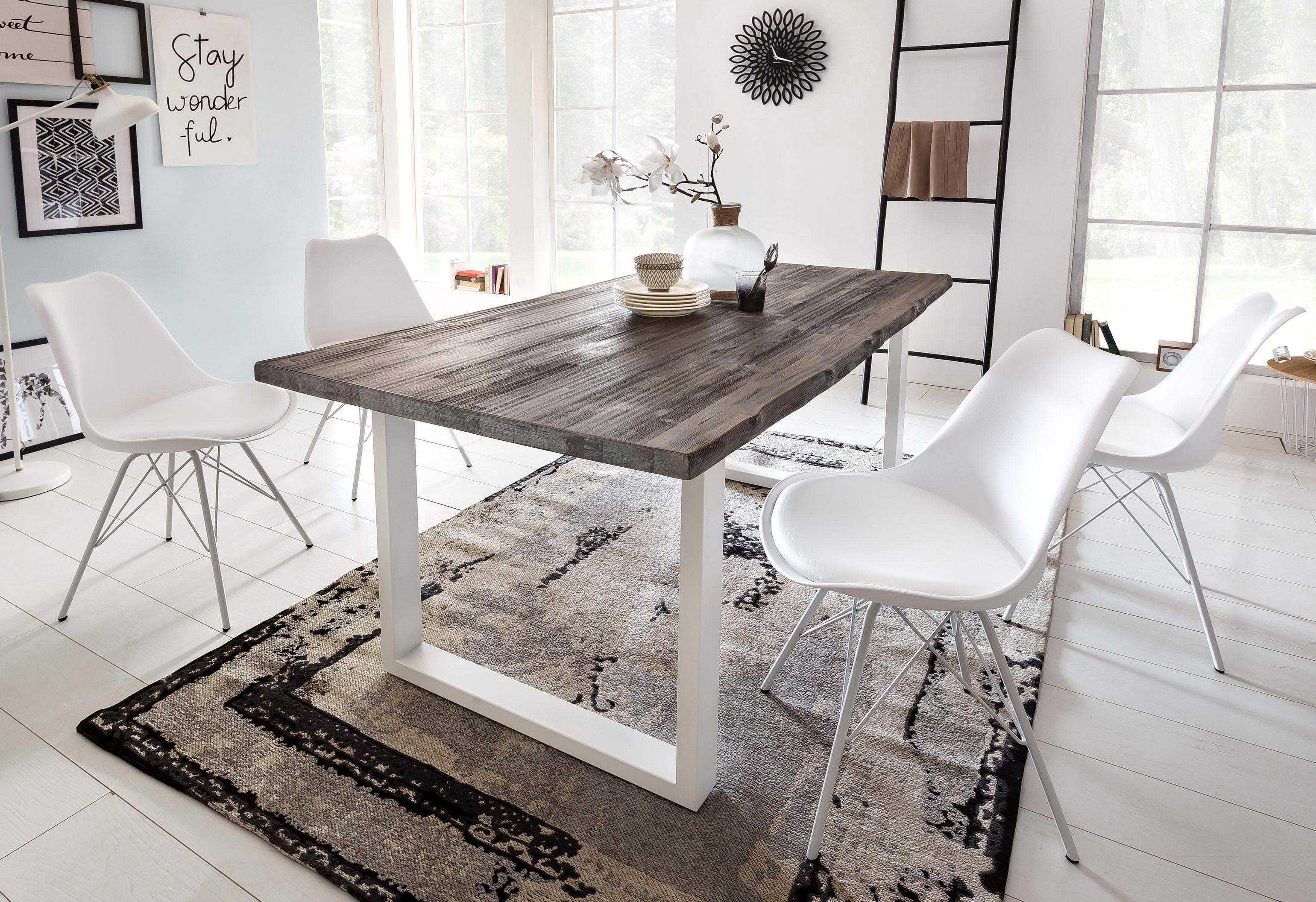 Tafel Metalen Onderstel : Home affaire eettafel maryland« van massief acaciahout en met een