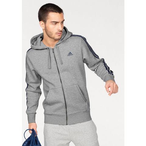 adidas Men's Essential 3 Stripe Fleece Hoody Grey S