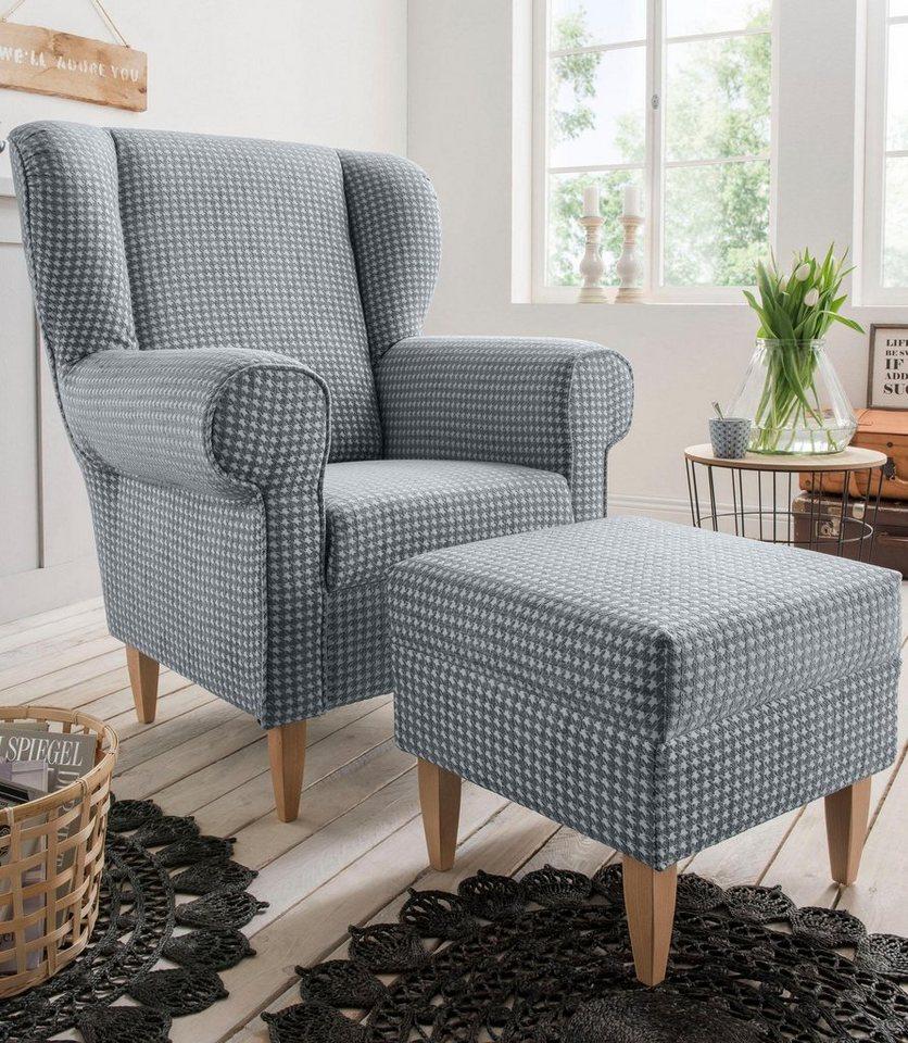 HOME AFFAIRE fauteuil Asino, met pied-de-poule-bekleding, naar keuze met hocker