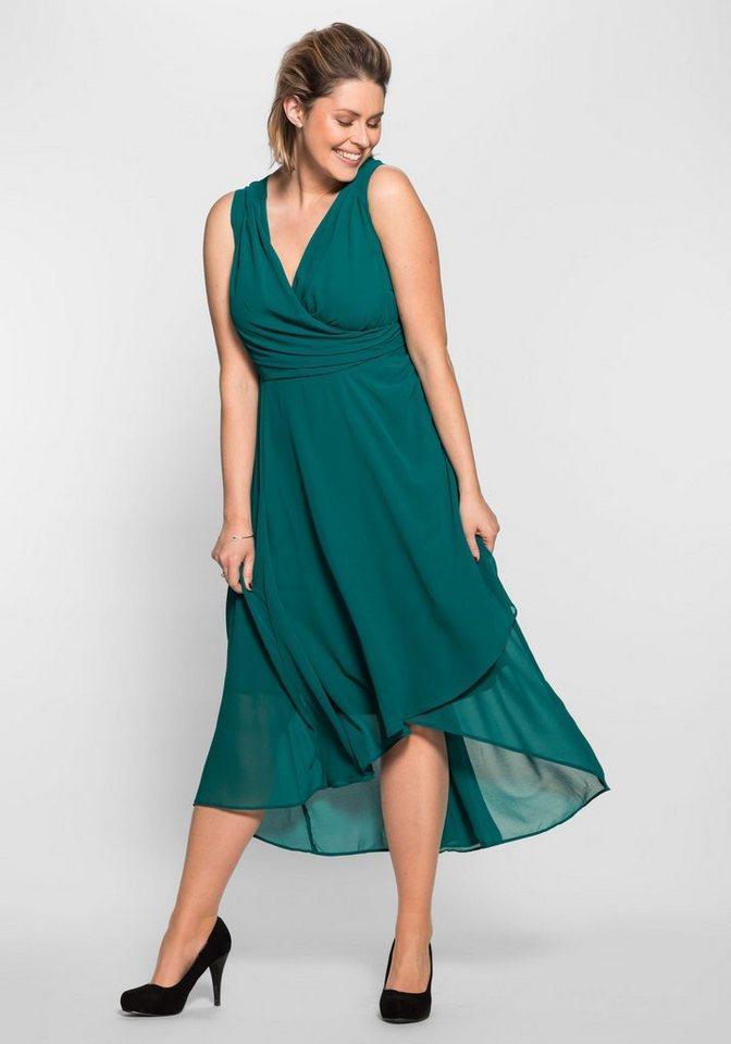 sheego Style Avondjurk in wikkel-look groen