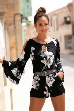 lascana korte jumpsuit met bloemenprint zwart