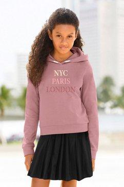 kidsworld hoodie met borduurwerk roze