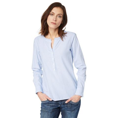 TOM TAILOR Blouse »Gestreepte blouse met ruchedetail«