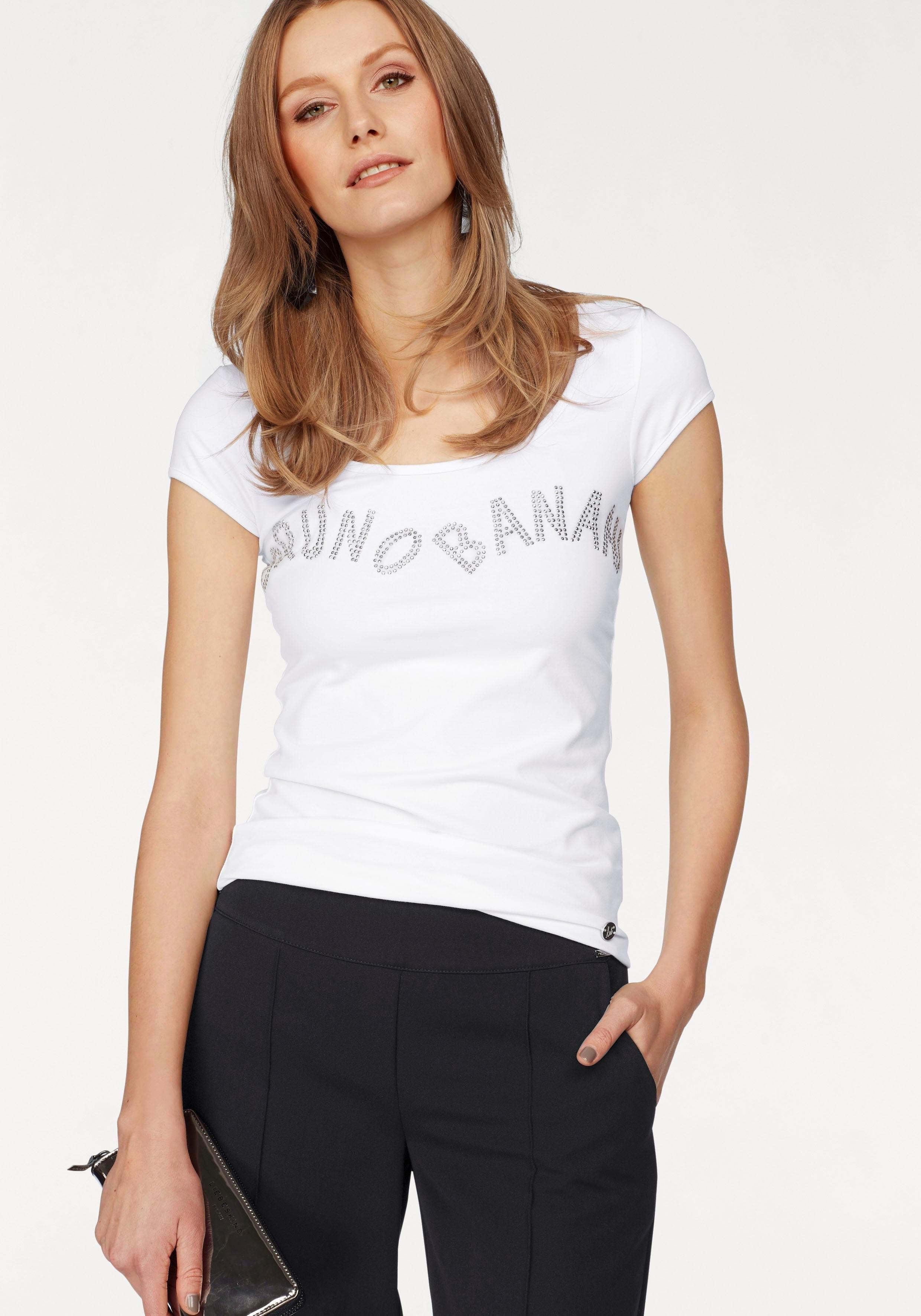 bruno banani T-shirt met glitterstuds voordelig en veilig online kopen