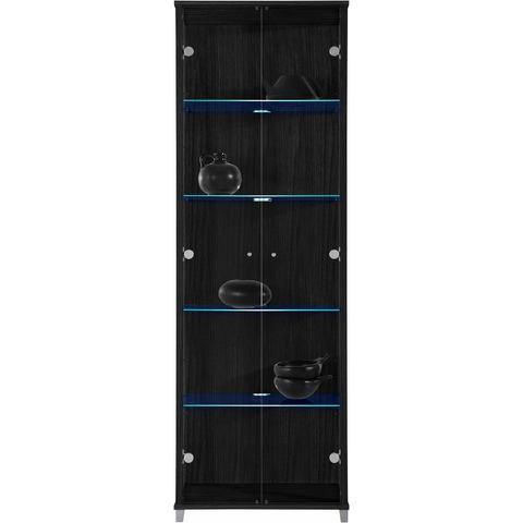 kast 2-deurs hoogte 172 cm 4 glasplateaus zwart vitrinekast 406