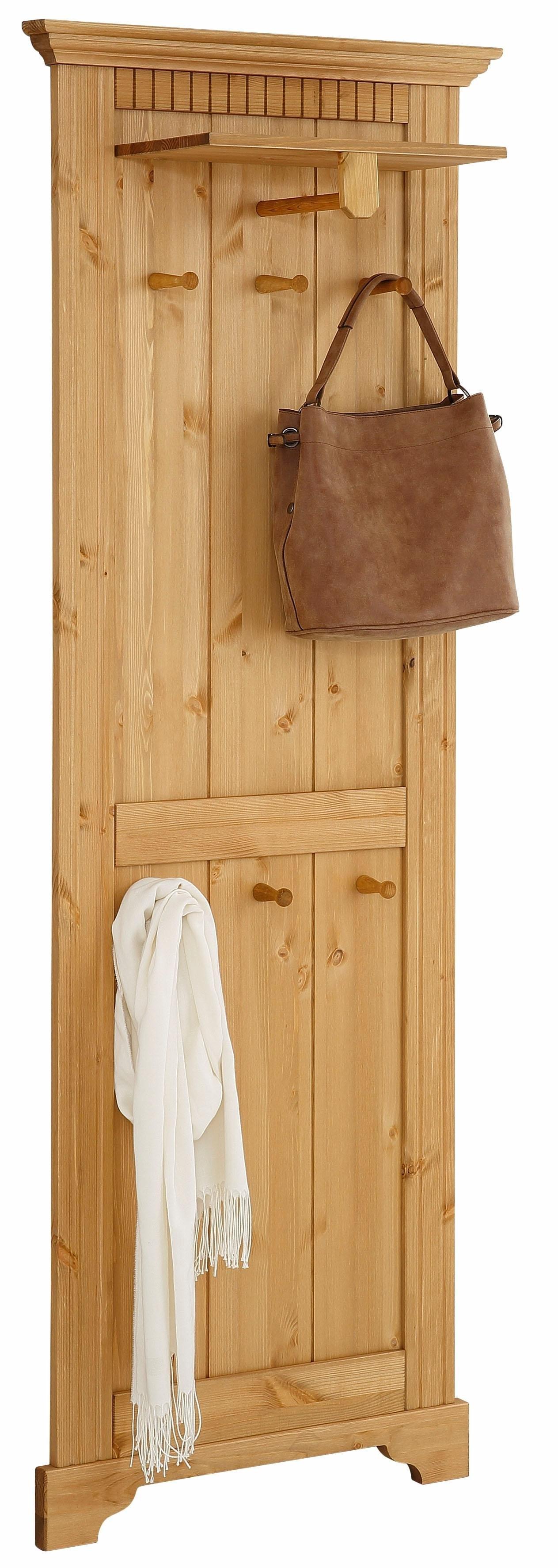 Home affaire kapstokpaneel »Rustic« van massief grenen, 64 cm breed - verschillende betaalmethodes