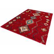 mint rugs hoogpolig vloerkleed »geometric«, hoogte 30 mm, geweven rood
