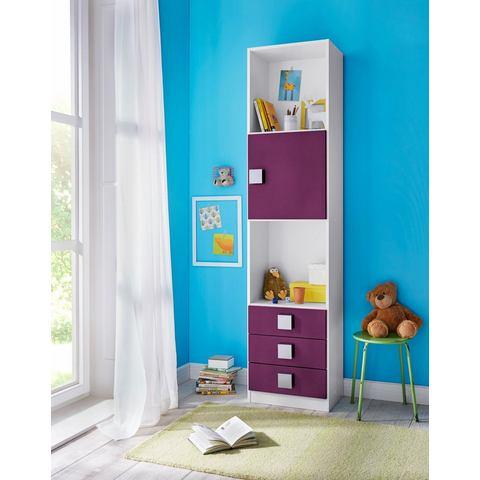 Boekenkast SKUNK 1 deur en 3 lades wit-paars
