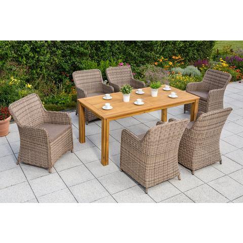 MERXX Tuinmeubelset Lissabon, 13-dlg., 6 stoelen, tafel 185x90 cm, poly-rotan/acacia