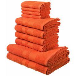 my home handdoekenset vanessa met gescheiden rand (set, 10-delig) oranje
