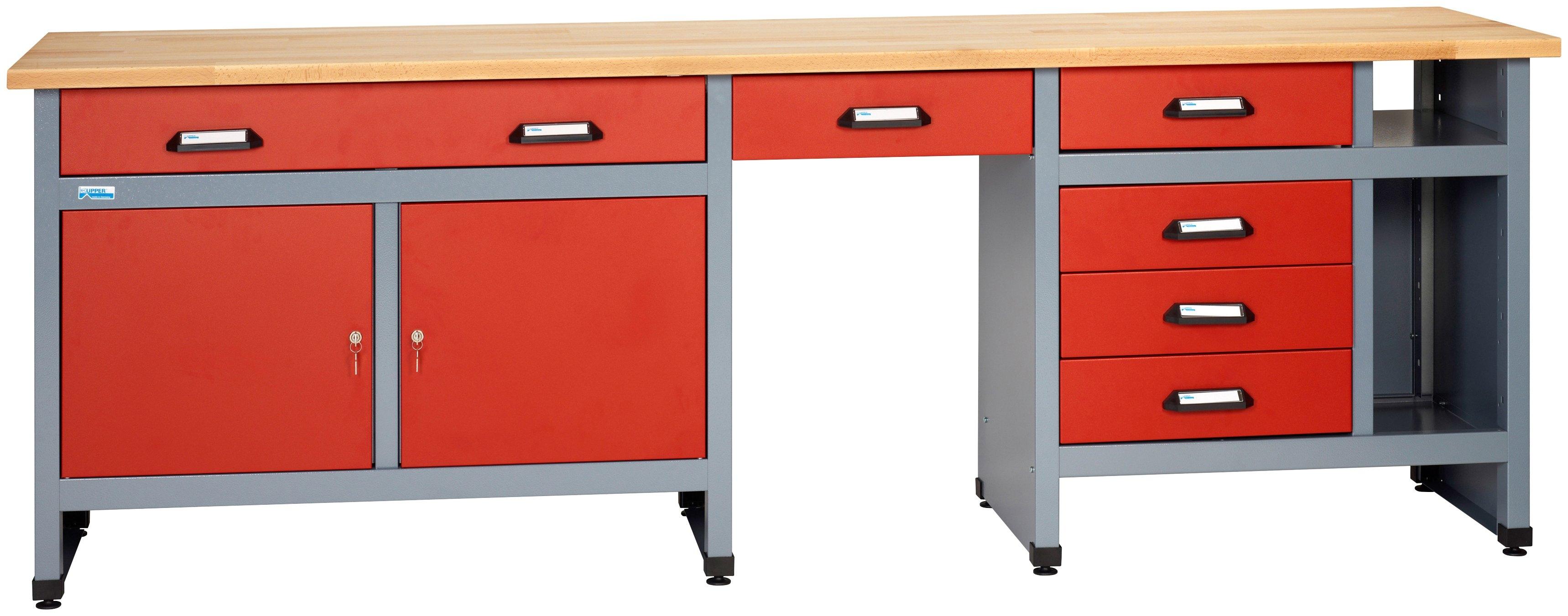 k pper werkbank 6 laden 2 deuren in rood speciale. Black Bedroom Furniture Sets. Home Design Ideas
