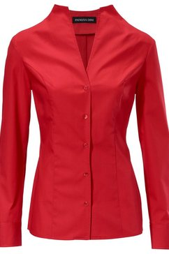 blouse met staande kraag rood