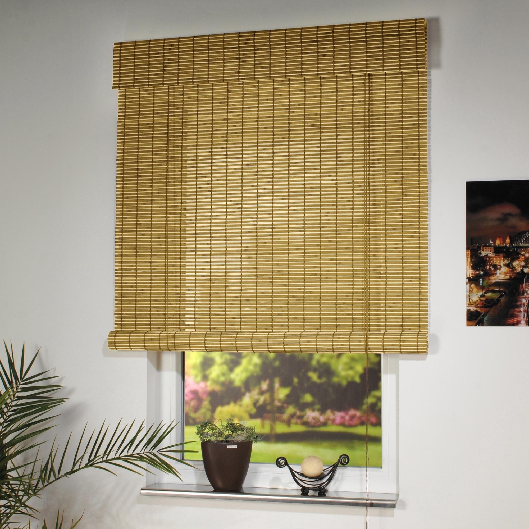 Liedeco Rolgordijn met zijbediening, houten jaloezieën, lichtwerend, standaardmaat voordelig en veilig online kopen