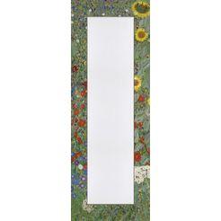 home affaire spiegel in een designerlijst »klimt, g.: tuin met zonnebloemen«, 50x140 cm groen