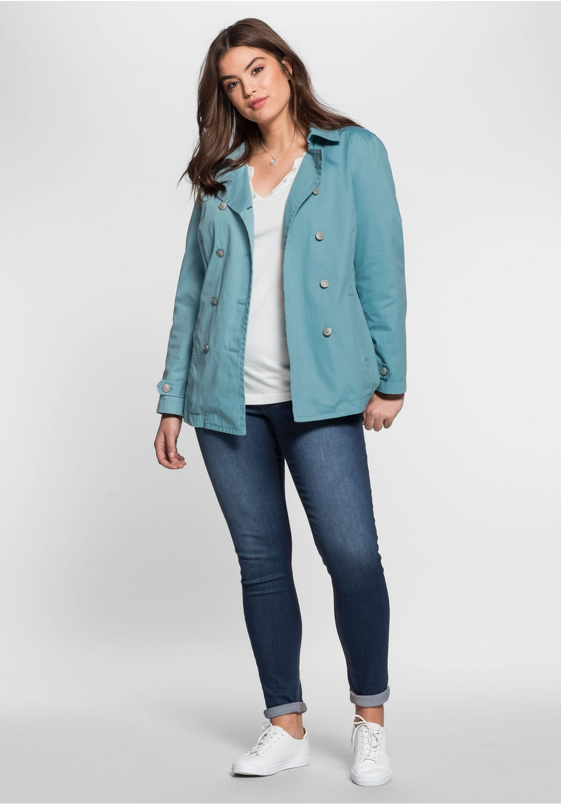 Sheego Casual Caban In Marine-look Online Kopen Petrol jDJdXjQG
