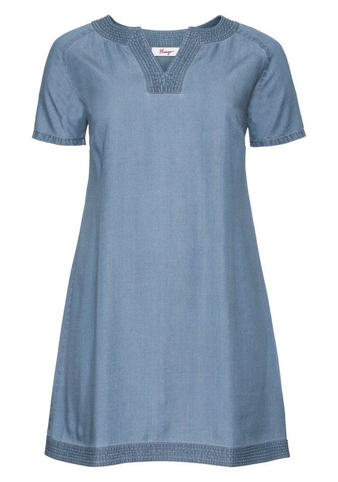 sheego Casual Lyocell-jurk in sportief design blauw