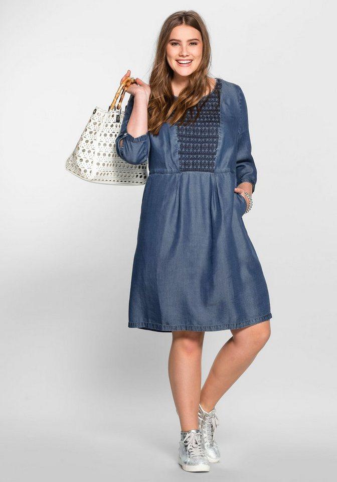sheego Casual Lyocell-jurk met borduursel blauw