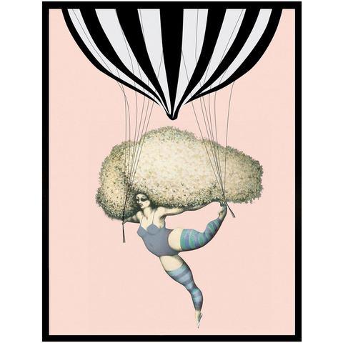 G&C ingelijste artprint Dancing with Balloon luchtballon 33x43 cm
