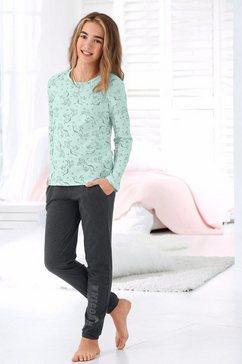 arizona pyjama met unicorn-print (eenhoorn) groen