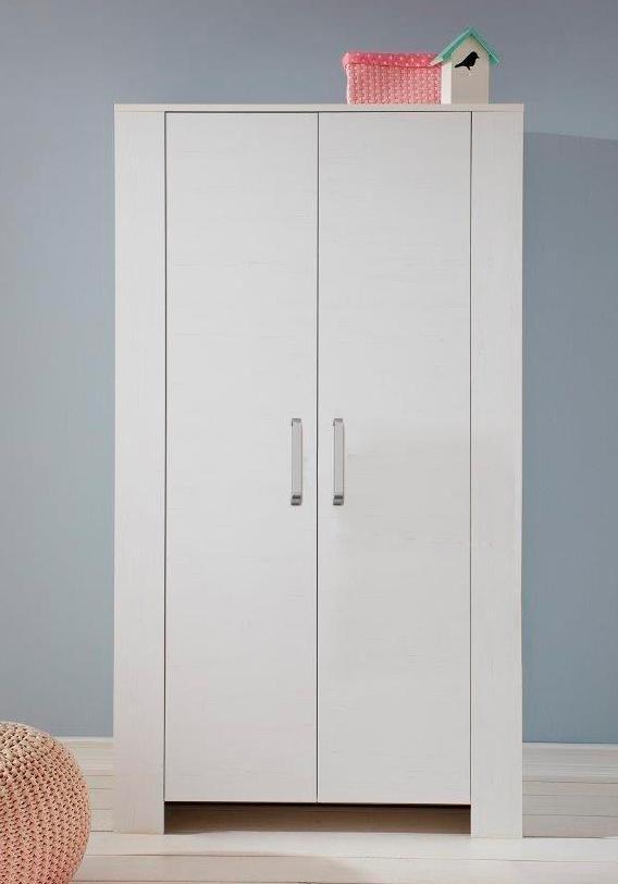2-deurs garderobekast Oslo, imitatie-pine, structuur/wit