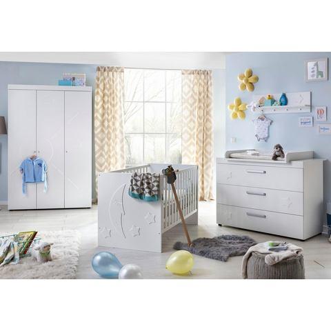 Slaapkamer Basel babyledikantje + babycommode + garderobekast, (3-dlg.), mat-wit
