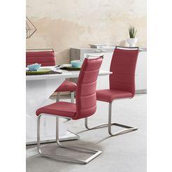 mca furniture vrijdragende stoel pescara set van 2, stoel belastbaar tot 120 kg (2 stuks) rood