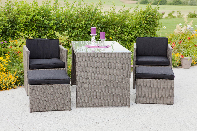 Merxx set: Tuinmeubelset »Merano«, 11-delig, 2 stoelen, 2 hockers, tafel 128x70 cm, poly-rotan nu online bestellen