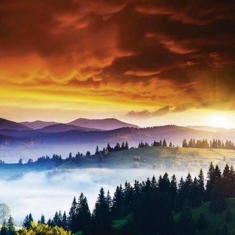 HOME AFFAIRE artprint op linnen, Creative Travel Projects: zonsondergang bij een bewolkte hemel voor