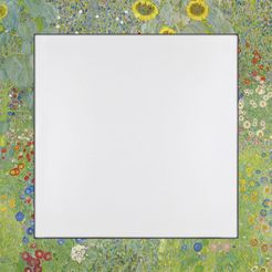home affaire spiegel in een designerlijst »klimt, g.: tuin met zonnebloemen«, 66x66 cm groen