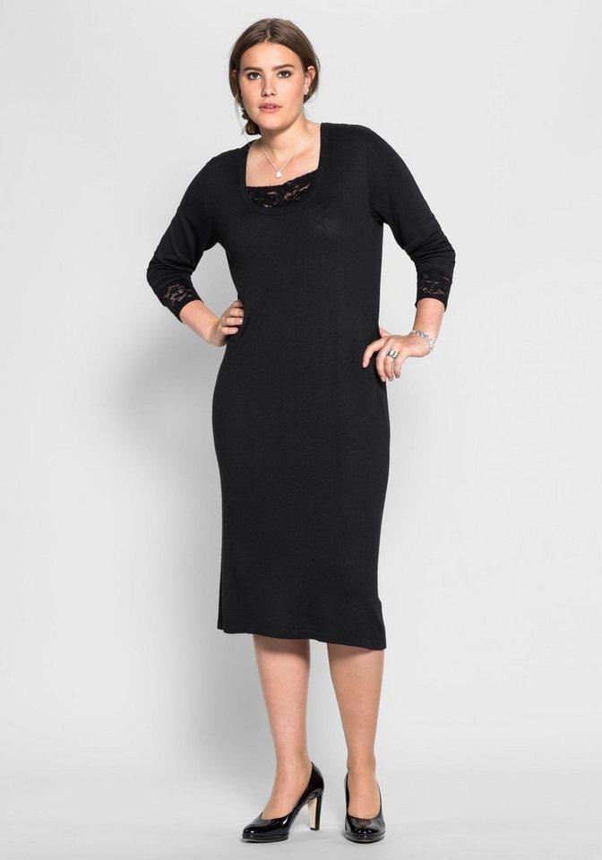sheego Style Sheego Style tricotjurk met kant zwart