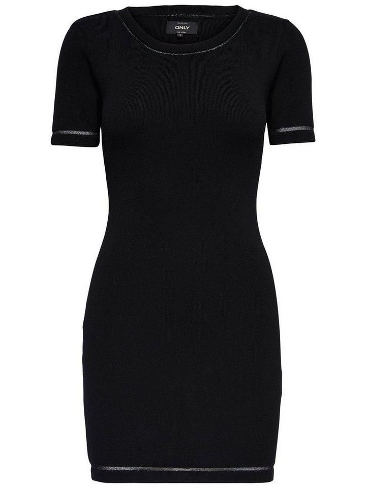 ONLY gebreide jurk met korte mouwen zwart